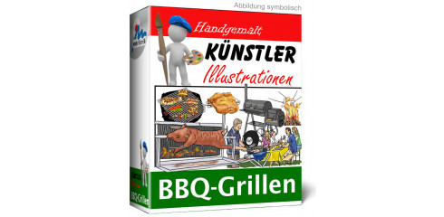 Künstler-Illustrationen BBQ-Grillen