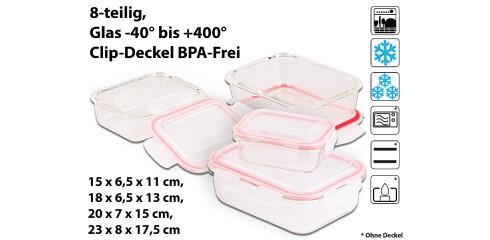 5in1 Glas XL-Frischhaltedosen-Set, 8-tlg, Clip-Deckel, -40 bis +400 C°