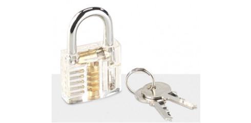 Durchsichtiges Lockpicking-Übungsschloss mit 2 Schlüsseln